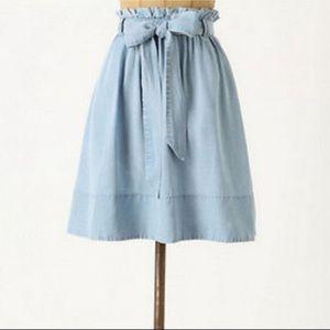 NWT fei for Anthropologie Chambray Paper Bag Skirt